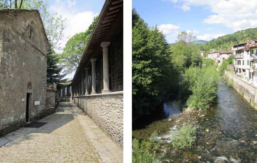 Left: The sanctuary of La Verna is a few miles away.Right: The Solano, a tributary of the Arno runs through the town of Strada.
